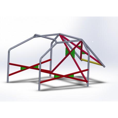 Arco 6 Puntos COMPETICIÓN con refuerzo en X en puertas y doble X con cartelas