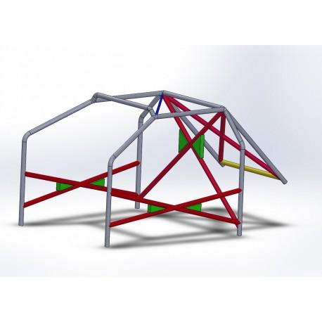 Arco 6 Puntos COMPETICIÓN con refuerzo en X en puertas, doble X y Diagonal en techo