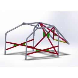Arco 6 Puntos COMPETICIÓN con refuerzo en X en puertas, doble X con cartelas y Diagonal en techo