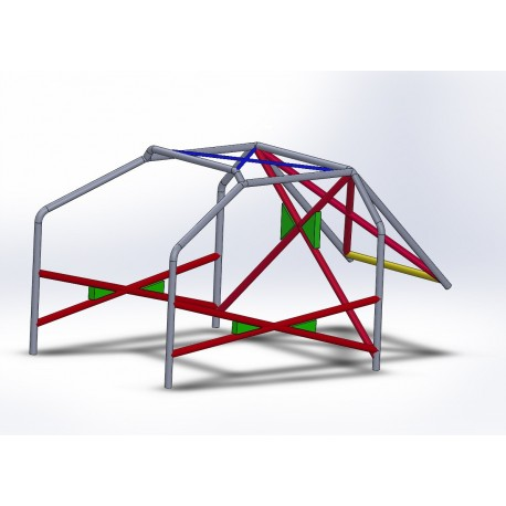 Arco 6 Puntos COMPETICIÓN con refuerzo en X en puertas, doble X y X en techo