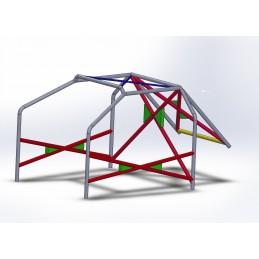 Arco 6 Puntos COMPETICIÓN con refuerzo en X en puertas, doble X con cartelas y X en techo