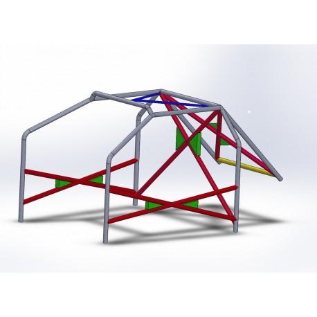 Arco 6 Puntos COMPETICIÓN con refuerzo en X en puertas, doble X con cartelas y V invertida en techo