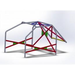 Arco 6 Puntos COMPETICIÓN con refuerzo en X en puertas, doble X y V invertida en techo