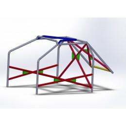 Arco 6 Puntos COMPETICIÓN con refuerzo en X en puertas, doble X con cartelas y V en techo